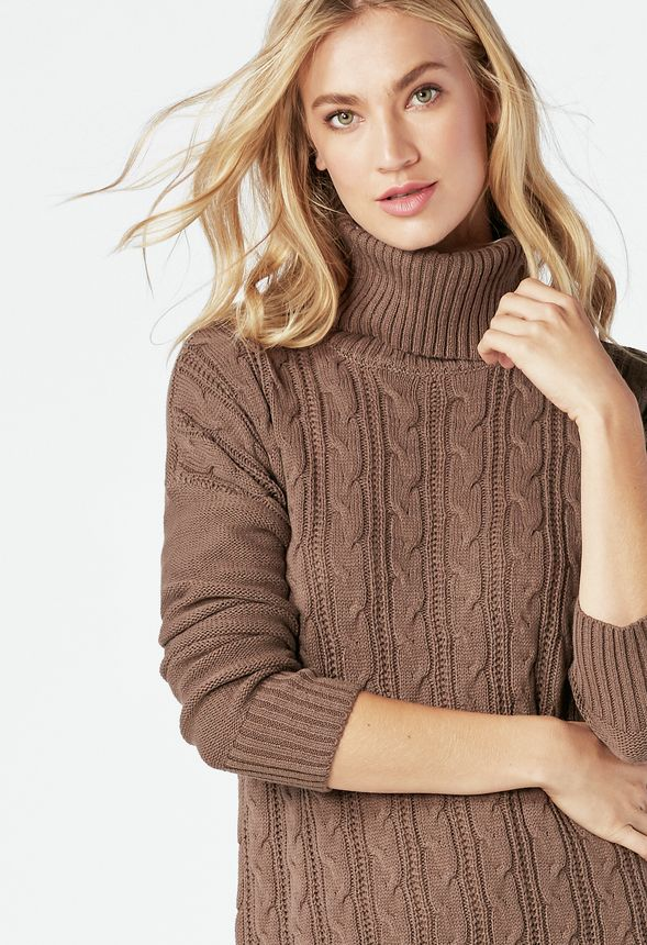 292ea601ec7 Relaxed Cable Knit Sweater Dress Clothing in CHOCOLATE CHIP - Get ...
