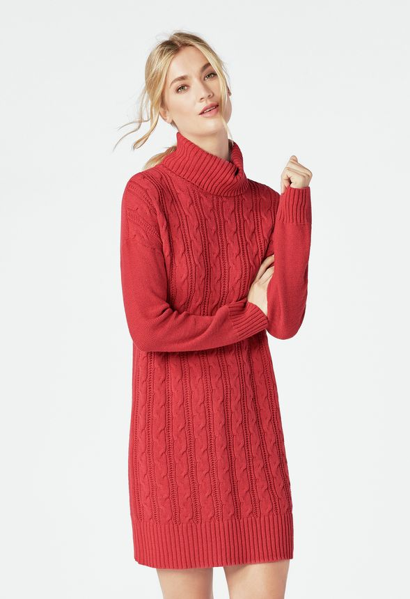 055d0061ab0 Relaxed Cable Knit Sweater Dress Clothing in SCARLET SAGE - Get great deals  at JustFab