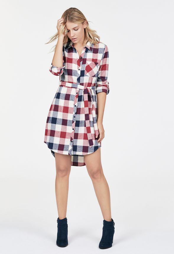 49c5325e0 Plaid Shirt Dress Clothing in WINE MULTI - Get great deals at JustFab