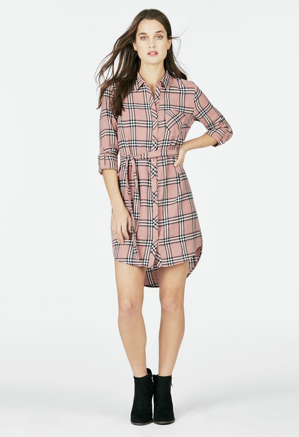 dfbdbc051 Plaid Shirt Dress Clothing in Faded Rose/ Navy - Get great deals at JustFab