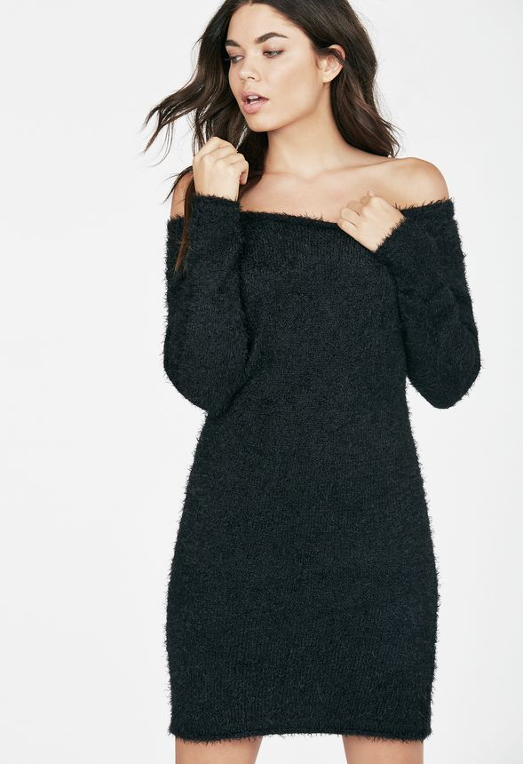 57b2354339a Off Shoulder Eyelash Sweater Dress Clothing in Black - Get great deals at  JustFab