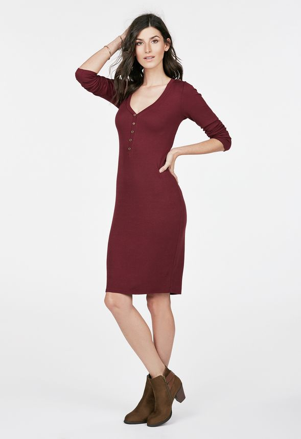 henley rib knit dress kleidung in oxblood g nstig kaufen bei justfab. Black Bedroom Furniture Sets. Home Design Ideas