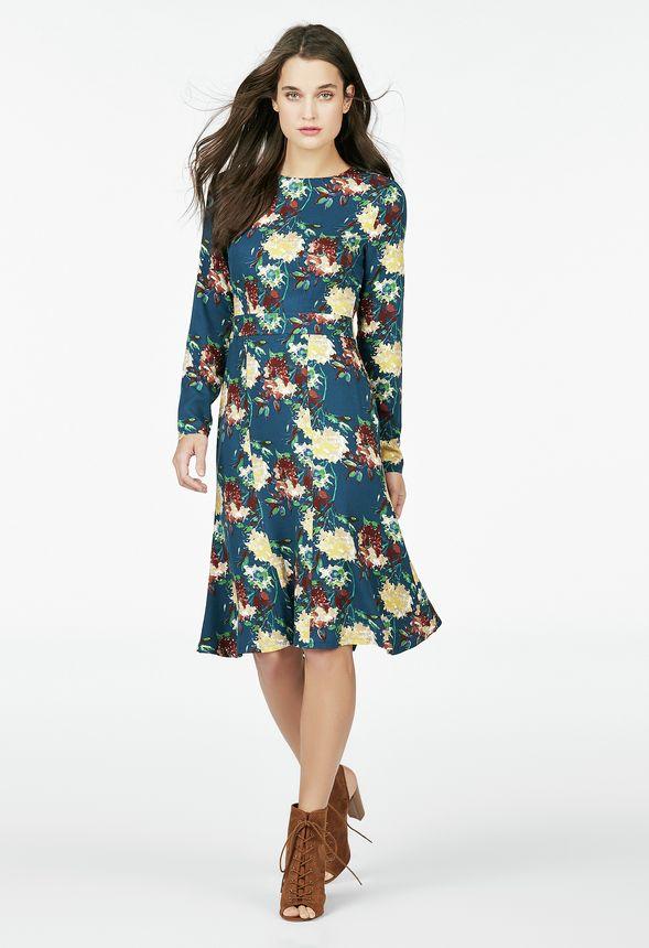 67bfa450cd0c Kläder Midi Tea Dress i Indigo Multi - Fantastiska erbjudanden hos JustFab