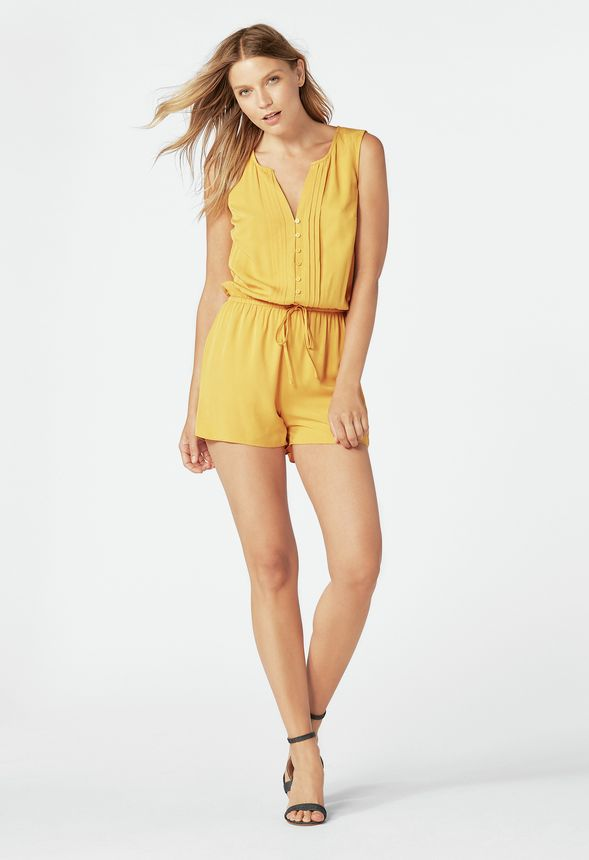 dac04f15fc84 Pintuck Romper Clothing in MARIGOLD - Get great deals at JustFab