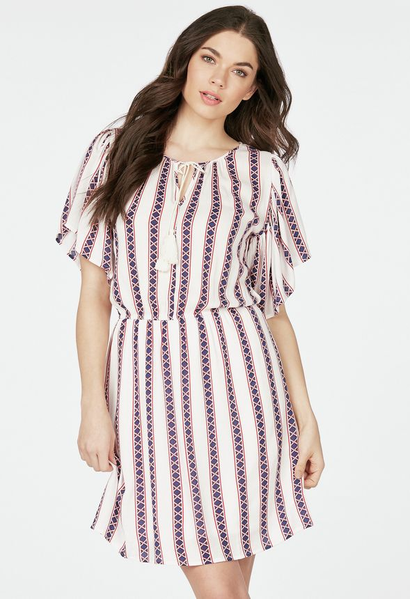 e7401251a4600 Gauze Print Dress Clothing in off white multi - Get great deals at JustFab