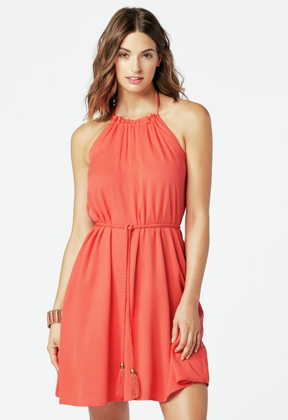 c15798f04605 Halter Midi Dress Clothing in HOT CORAL - Get great deals at JustFab