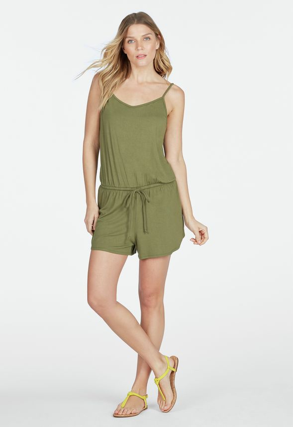 0914a529b96 Knit Romper Clothing in Olive - Get great deals at JustFab