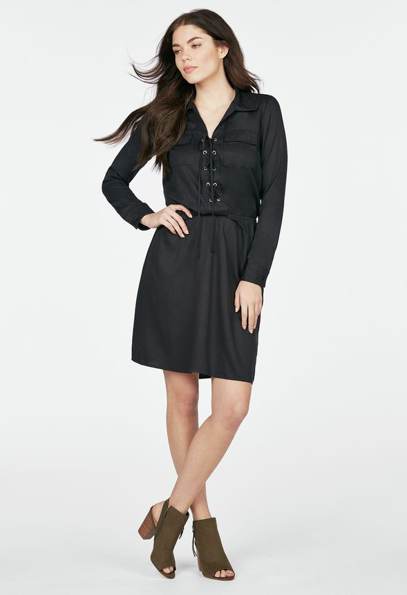 c0bf11d189a LACE UP SHIRT DRESS Clothing in Black - Get great deals at JustFab