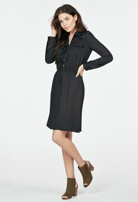 v tements lace up shirt dress en noir livraison gratuite sur justfab. Black Bedroom Furniture Sets. Home Design Ideas
