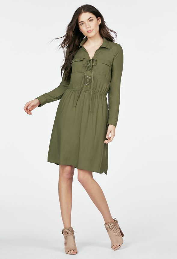 b152572c2faf Lace Up Shirt Dress Clothing in Olive - Get great deals at JustFab
