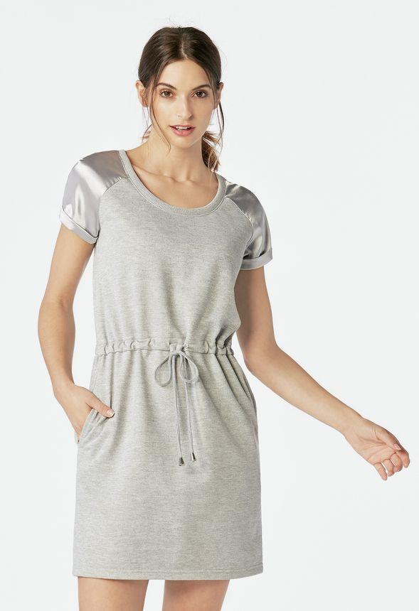 64fab28add47ab Sweatshirt Satin Mix Dress Clothing in LIGHT HEATHER GREY - Get great deals  at JustFab