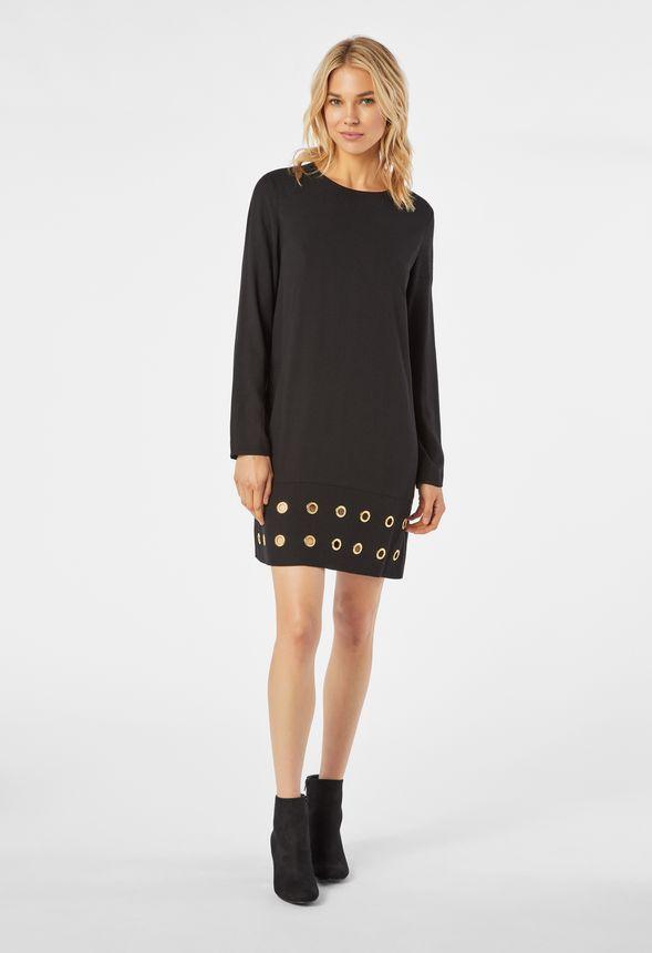 tunika kleid mit sen kleidung in schwarz g nstig online. Black Bedroom Furniture Sets. Home Design Ideas