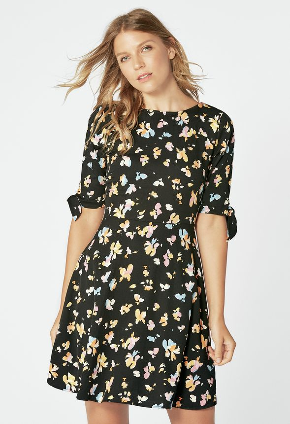 70f6d47c6568d0 TIE SLEEVE SKATER DRESS Clothing in Black Multi - Get great deals at JustFab
