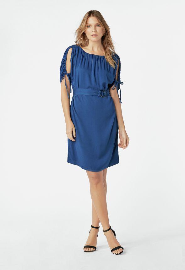 0fae8c426174 Kläder Klänning med dragsko i BELL BOTTOM BLUE - Fantastiska erbjudanden  hos JustFab
