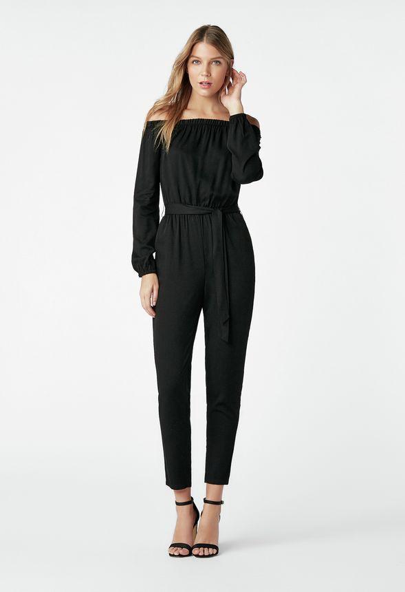 off shoulder jumpsuit kleidung in schwarz g nstig kaufen bei justfab. Black Bedroom Furniture Sets. Home Design Ideas