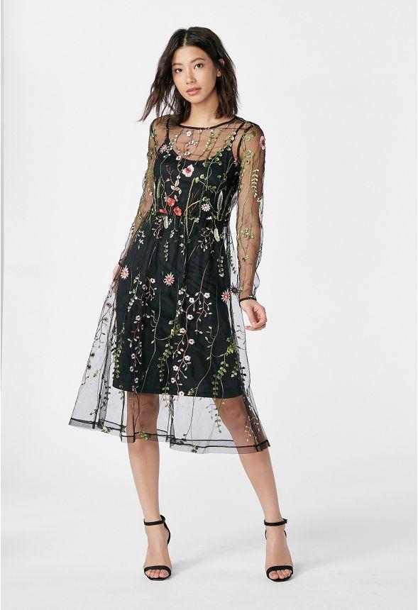 Mit In Schwarz Kleid Kleidung Blumenstickerei Online Günstig c5AjRq43L