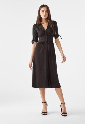 7a5caabbb9e Tie Sleeve Midi Shirt Dress ...