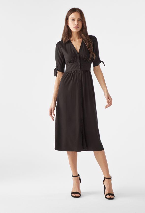 75aa07c7c99c Tie Sleeve Midi Shirt Dress Clothing in Black - Get great deals at JustFab