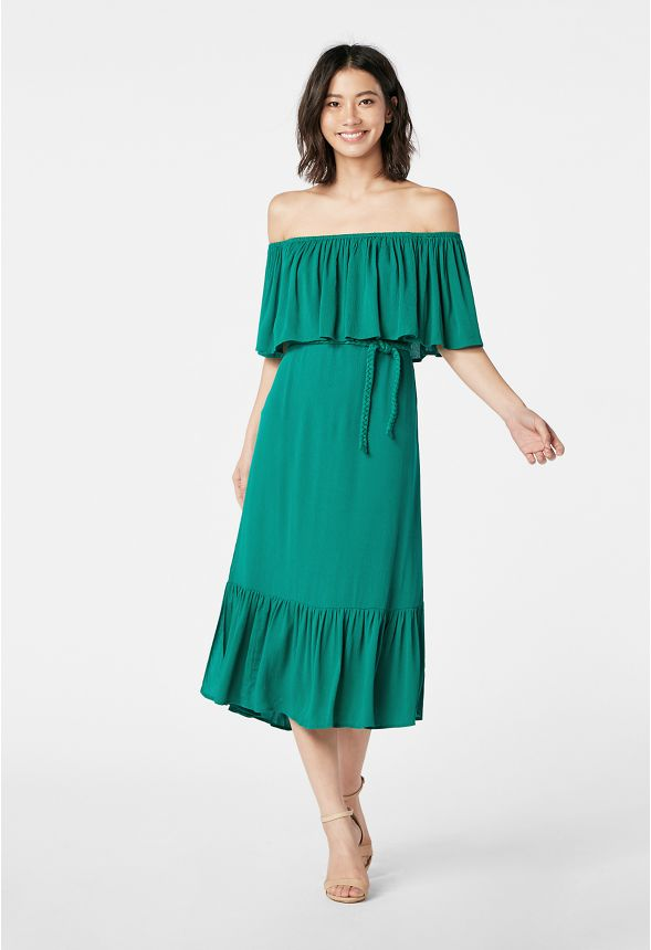 1afd509aa120 Ruffle Off Shoulder Dress Clothing in ultramarine green - Get great deals  at JustFab