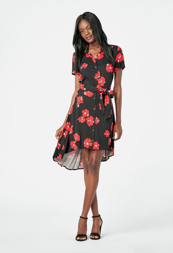 Easy High Low Shirt Dress Clothing in Black Multi - Get great deals at  JustFab 6bedfa8a8