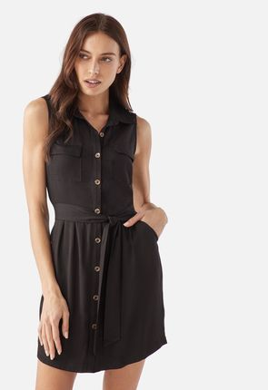 823a5378a2412 Sleeveless Utility Shirt Dress ...