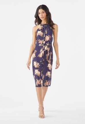 2081a1f08861 Halterneck-klänning med knappar ...