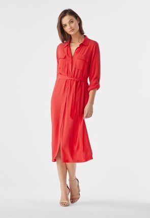 1479848db7a Gauze Belted Midi Shirt Dress ...