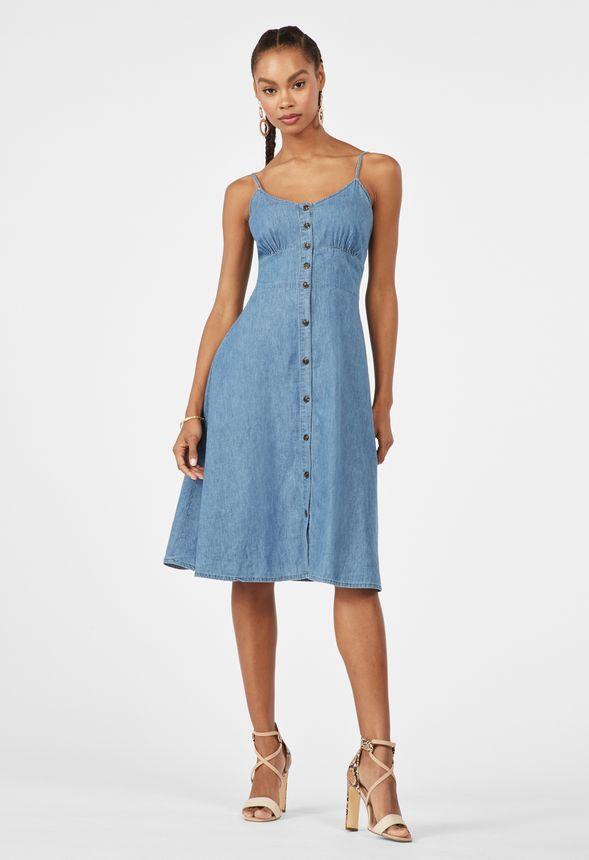 6a8bdeaa1d5 Chambray-Kleid mit Knopfleiste Kleidung in Chambray - günstig online kaufen  im JustFab Shop Deutschland