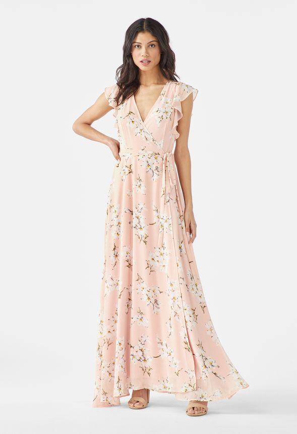 wholesale dealer c53ee 7d756 Maxi-Kleid mit Flatterärmeln Kleidung in PINK MULTI ...