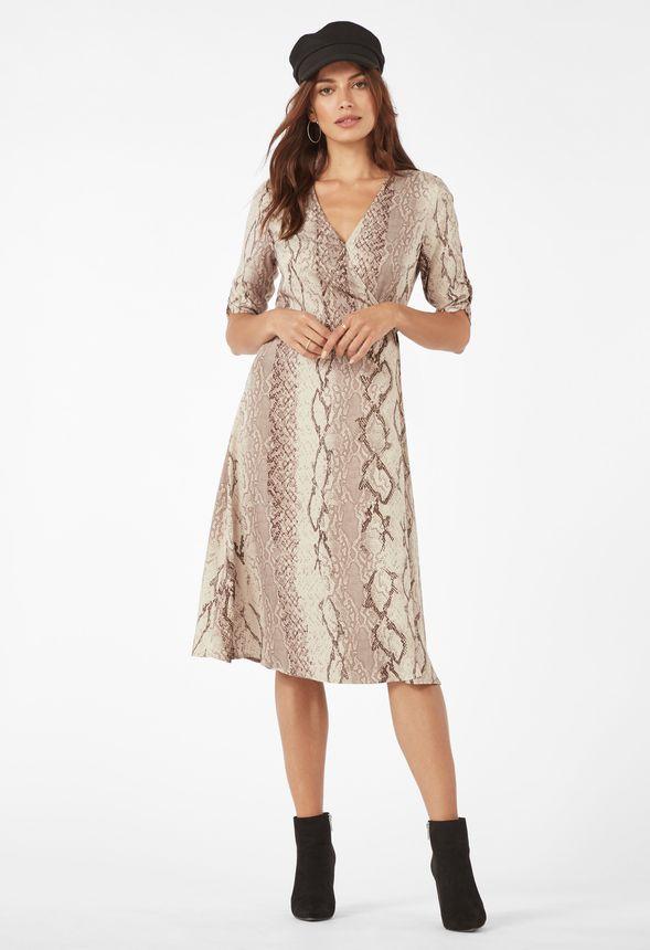 online store 81096 79352 Fließendes Wickel-Kleid Kleidung in SNAKE PRINT - günstig ...