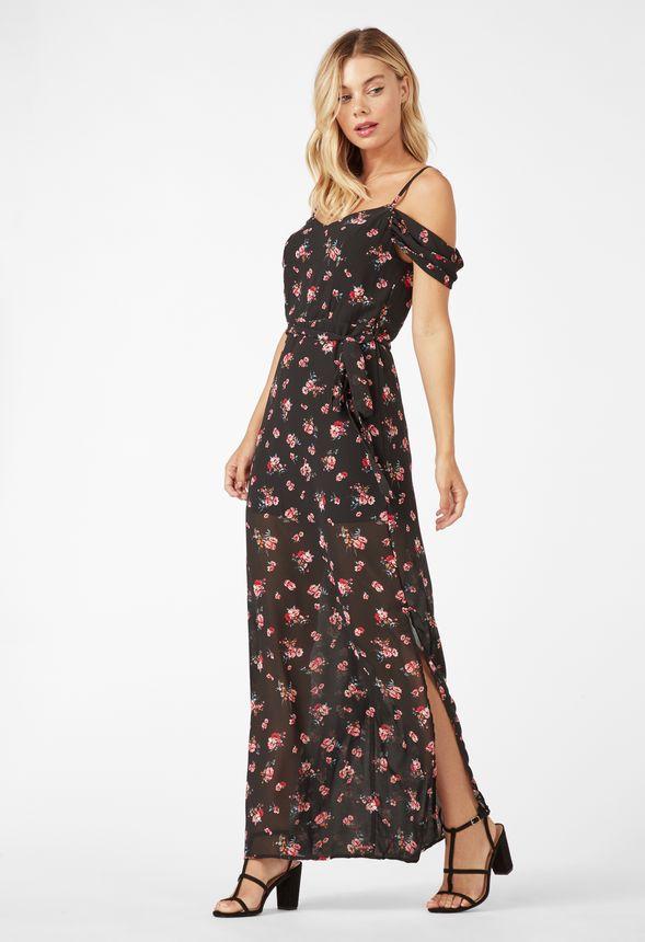 official photos 7d6a1 f22ef Maxi-Kleid zum Wickeln Kleidung in BLACK MULTI - günstig ...