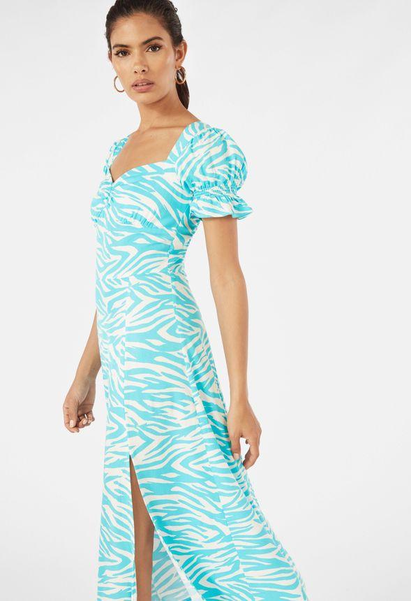 Kleid Mit Seitenschlitz Und Puffarmeln Kleidung In Blue Zebra Gunstig Online Kaufen Im Justfab Shop Deutschland