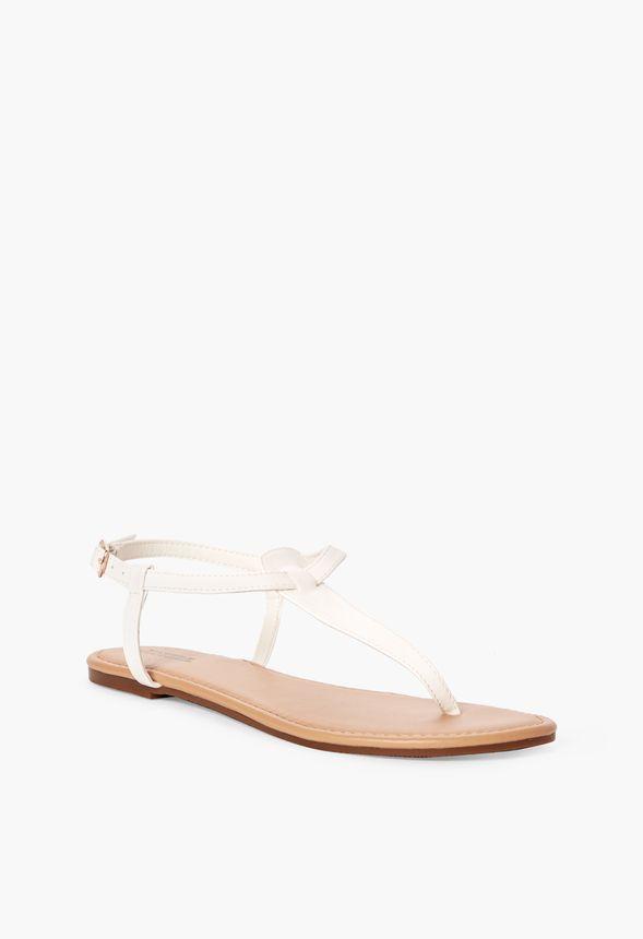 92aefcce53c58f Chaussures Sandales plates Pia en Blanc - Livraison gratuite sur JustFab