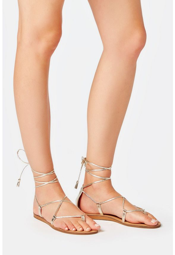 chaussures geralyn lace up sandal en champagne livraison gratuite sur justfab. Black Bedroom Furniture Sets. Home Design Ideas