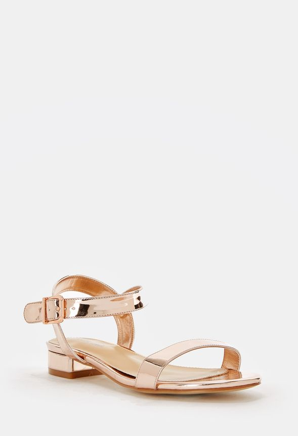 Sko Aisha Low Block Heel Sandal i ROSE GOLD MIRRORED Shop