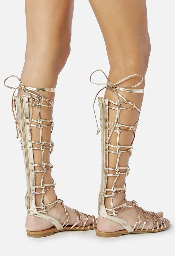 chaussures earnesta lace up gladiator sandal en dor livraison gratuite sur justfab. Black Bedroom Furniture Sets. Home Design Ideas