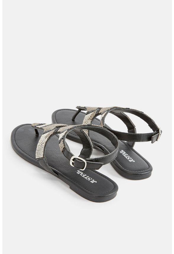 chaussures devey beaded flat sandal en noir livraison gratuite sur justfab. Black Bedroom Furniture Sets. Home Design Ideas