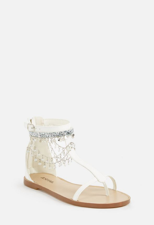 a9b1a5095f3ca6 Whynna Jeweled Flat Sandal Shoes in White - Get great deals at JustFab