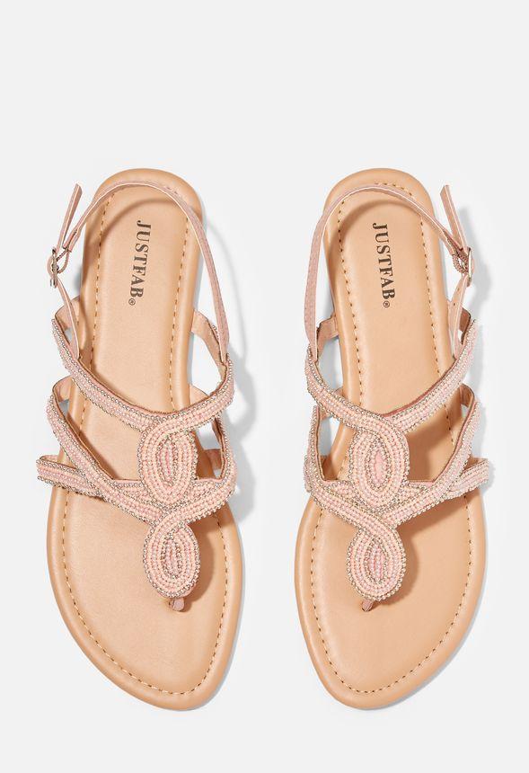 mieux aimé 8b00e b3d73 Chaussures Sandales plates à perles Stasha en Nude ...