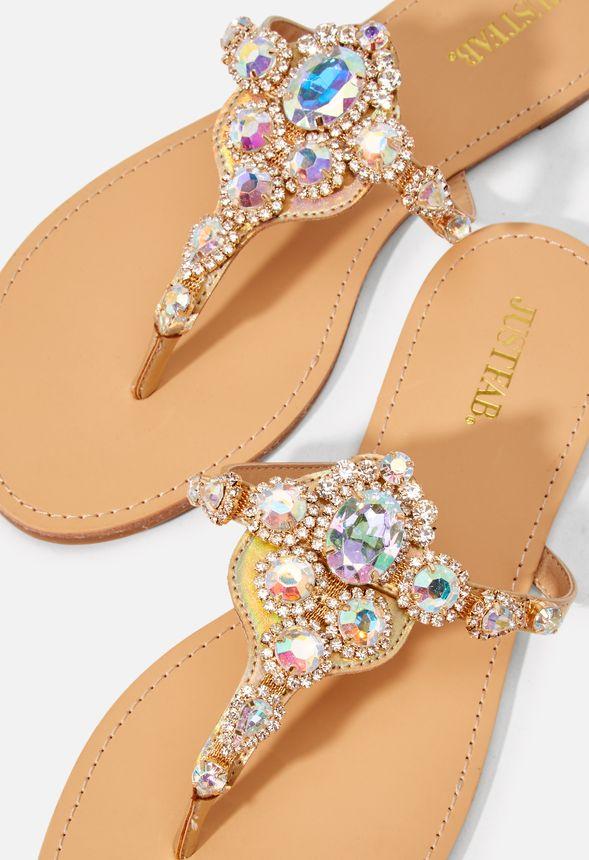 CELINE VERZIERTE ZEHENSTEGSANDALEN Schuhe in Transparent