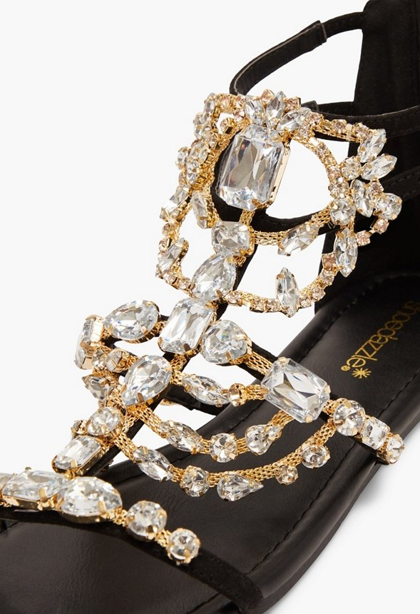 Remy Embellished Gladiator Sandal Shoes in Black - Get great