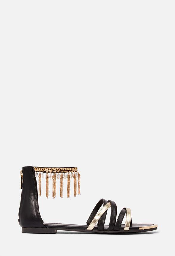 Skor Belinda sandaler med fransar i Svart Fantastiska