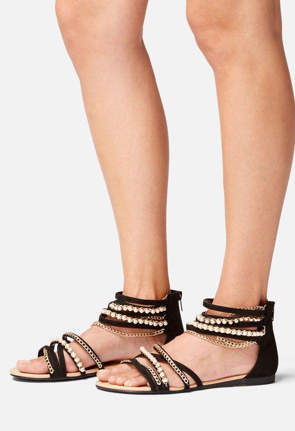 Skor Fillie utsmyckade sandaler i Svart Fantastiska