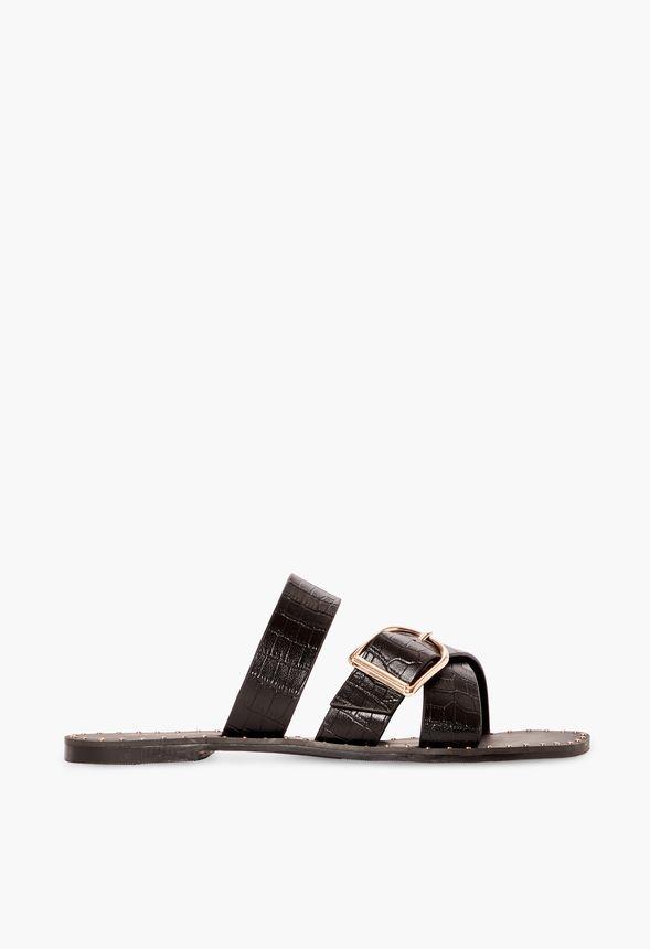 Negro Morgan Envío Planas En Zapatos Gratuito Justfab Sandalias CBohQrtsdx