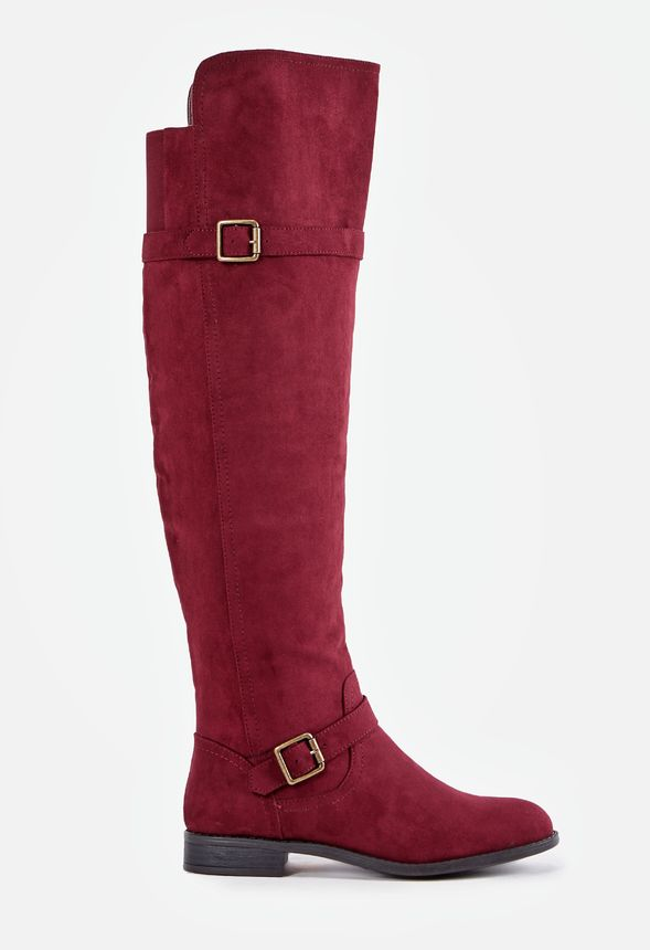 Portia Flat Boot Shoes in Burgundy
