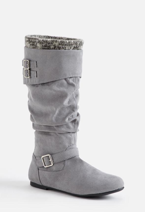 Andromeda flache Stiefel Schuhe in Grau günstig online