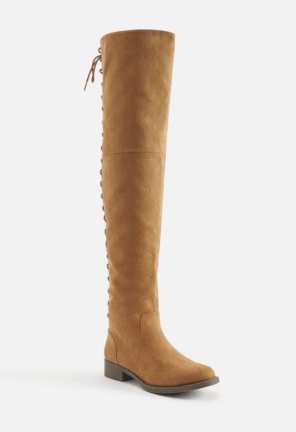 Chaussures Cuissardes Arnella avec laçage arrière en Camel