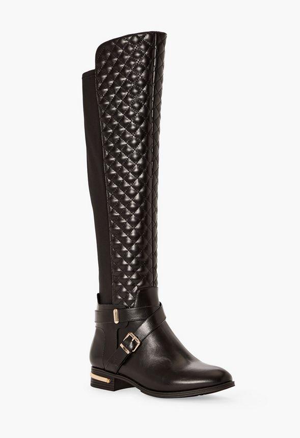 Chaussures Bottes plates matelassées Annabeth en Noir
