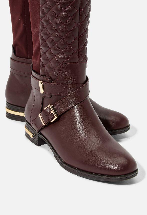 Chaussures Bottes plates matelassées Annabeth en Bordeaux