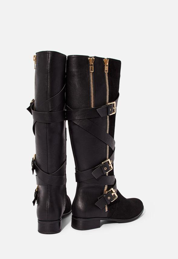Chaussures Bottes plates avec boucles Cecily en Noir